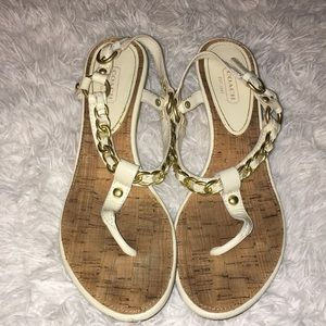 Coach Garland Chain Cork Wedge Sandals 9B
